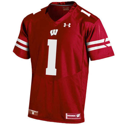 Wisconsin Badgers #1 Under Armour Red Youth Replica Jersey - Dino's Sports Fan Shop