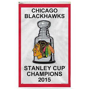 Chicago Blackhawks Wincraft Officially Licensed NHL 2015 Stanley Cup Banner 3 x 5ft. - Dino's Sports Fan Shop