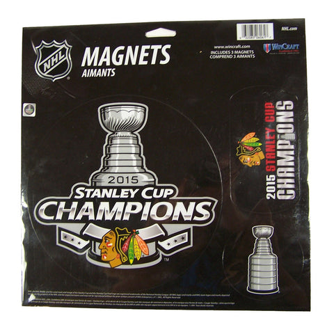 Chicago Blackhawks Wincraft 2015 Stanley Cup Champions Magnets (3 in a pack) - Dino's Sports Fan Shop