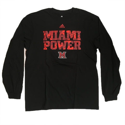 "Miami Redhawks Adidas L/S ""Miami Power"" Shirt - Dino's Sports Fan Shop"