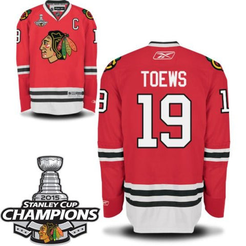 "Jonathan Toews ""C"" Chicago Blackhawks Home Red Youth Premier Jersey w/ 2015 Stanley Cup Patch by Reebok - Dino's Sports Fan Shop"