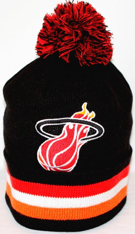 "Miami Heat Mitchell & Ness NBA ""Blackout"" Cuffed Knit Hat w/ Pom - Dino's Sports Fan Shop"