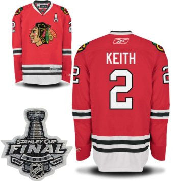 Duncan Keith #2 Chicago Blackhawks Reebok Home Red Premier Jersey w/ 2015 Stanley Cup Champions Patch - Dino's Sports Fan Shop