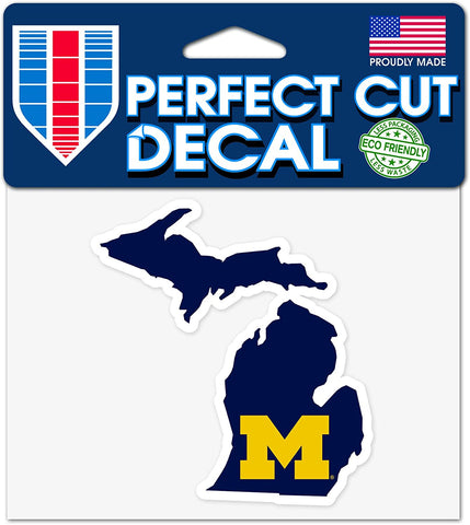 Michigan Wolverines State Wincraft Perfect Cut Decal 4x4