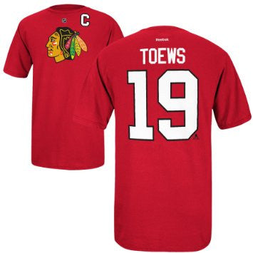 Jonathan Toews #19 Chicago Blackhawks Reebok Shirt - Dino's Sports Fan Shop