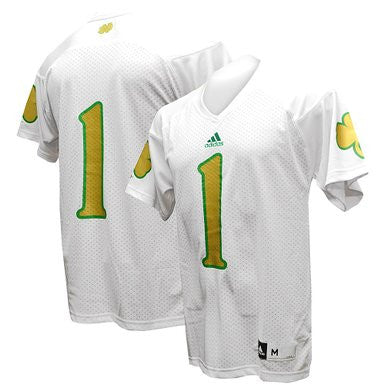 Notre Dame Fighting Irish #1 NCAA Adidas White Adult Shamrock Football Jersey - Dino's Sports Fan Shop