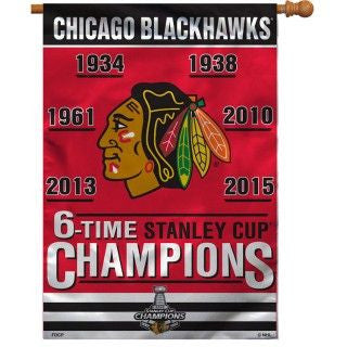 "Chicago Blackhawks Wincraft 6-Time Champions Vertical Flag - 28"" x 40"" - Dino's Sports Fan Shop"