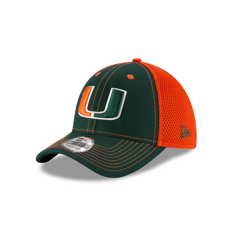 Miami Hurricanes New Era Team Front Adult Green/Orange Hat - Dino's Sports Fan Shop - 1