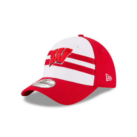 Wisconsin Badgers New Era Adult 39Thirty NE15 White/Red Hat - Dino's Sports Fan Shop - 1