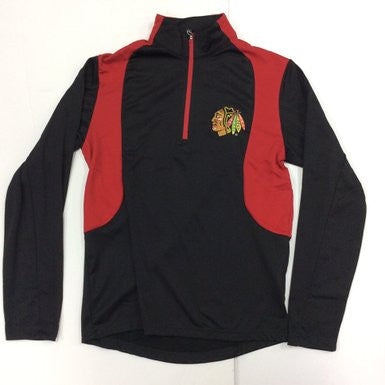 Chicago Blackhawks Antigua Black and Red Delta 1/4 Zip Sweatshirt - Dino's Sports Fan Shop