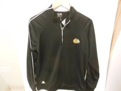 Chicago Blackhawks Adidas Black Climalite 1/4 Zip Adult Jacket - Dino's Sports Fan Shop