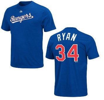 Nolan Ryan #34 Texas Rangers Majestic Cooperstown Collection Adult Shirt - Dino's Sports Fan Shop
