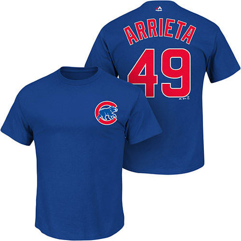 Jake Arrieta #49 Chicago Cubs Majestic Kids 4-7 Shirt - Dino's Sports Fan Shop