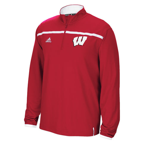 Wisconsin Badgers Adidas Sideline 1/4 Zip Climalite Pullover - Dino's Sports Fan Shop