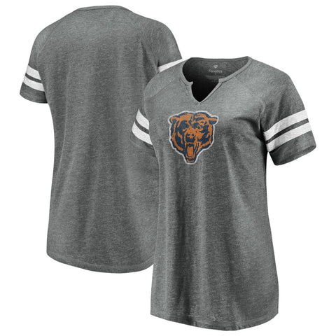 Chicago Bears Fanatics Branded Women's Distressed Tri-Blend Notch Neck T-Shirt – Heathered Gray/White