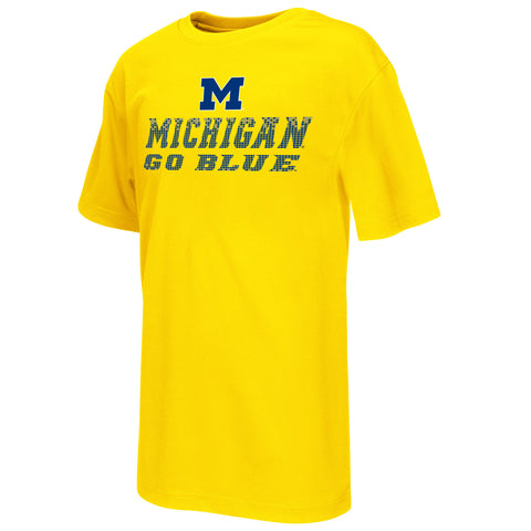 Michigan Wolverines Colosseum Youth Performance Pixel Shirt - Dino's Sports Fan Shop