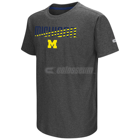 Michigan Wolverines Colosseum Gray Hat Trick Youth Shirt