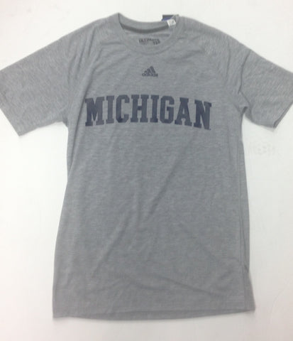 Michigan Wolverines Adidas Heather Gray Adult Shirt - Dino's Sports Fan Shop