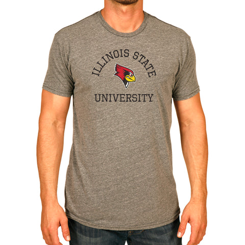Illinois State Redbirds Grey Retro Brand Adult T Shirt