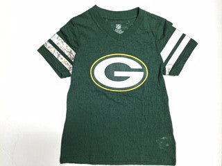 Green Bay Packers NFL Apparel Youth Girls V-Neck Shirt - Dino's Sports Fan Shop