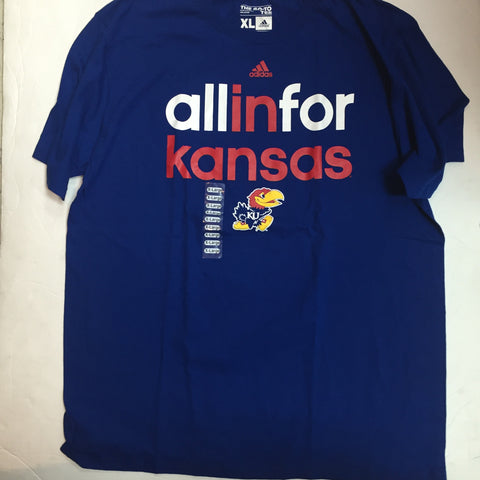 Kansas Jayhawks Adidas Blue All In Shirt - Dino's Sports Fan Shop