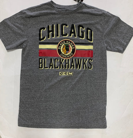 Chicago Blackhawks Adult CCM Old Logo Gray Shirt