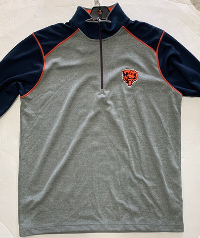 Chicago Bears Antigua Gray w/ Blue Sleeves Breakdown Men's Quarterzip