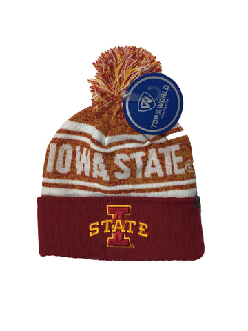 Iowa State Cyclones Top Of The World NCAA Red/Yellow Driven Adult Knit Hat