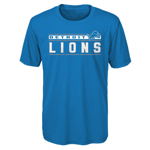 Detroit Lions NFL Blue Logo Athletic Youth T shirt