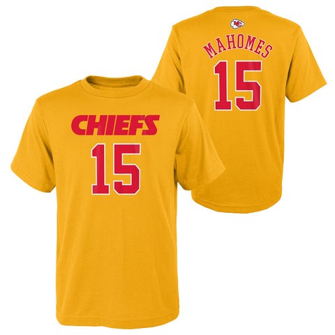 Patrick Mahomes #15 Kansas City Chiefs NFL Youth Yellow Alternate Name and Number Shirt