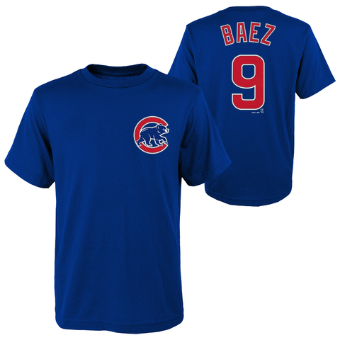Javier Baez #9 Chicago Cubs Majestic Blue Name & Number Youth Shirt