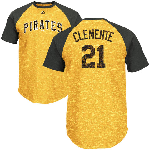 Roberto Clemente #21 Pittsburgh Pirates Majestic MLB Cooperstown Collection Gold Adult Shirt - Dino's Sports Fan Shop