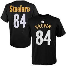 e50860aed7e Pittsburgh Steelers Antonio Brown  84 Youth Black Cotton T-Shirt