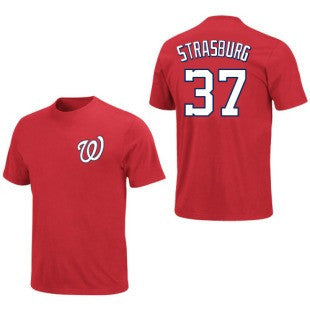 Stephen Strasburg #37 Washington Nationals Majestic MLB Red Adult Shirt - Dino's Sports Fan Shop