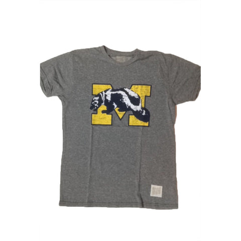 Michigan Wolverines Retro Brand Streaky Grey Shirt - Dino's Sports Fan Shop