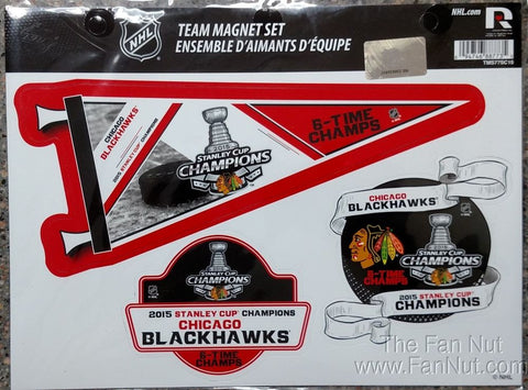 Chicago Blackhawks 2015 Stanley Cup Champions 6X Champs Magnets (3 in a Pack) - Dino's Sports Fan Shop