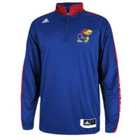 Kansas Jayhawks Adidas Youth On-Court L/S Shooter Pullover - Dino's Sports Fan Shop