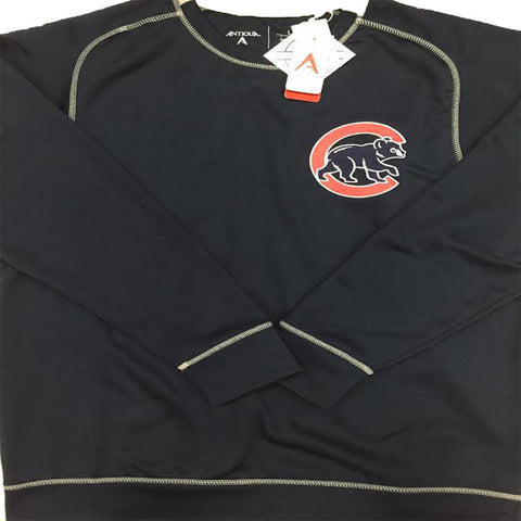 Chicago Cubs Antigua Crew-neck Navy/Silver W/ Throwback Logo Adult - Dino's Sports Fan Shop