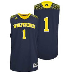 Michigan Wolverines #1 Adidas Navy Blue Adult 2014 March Madness Basketball Jersey - Dino's Sports Fan Shop