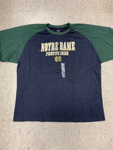 Notre Dame Fighting Irish Adult Genuine Stuff Blue/Green Shirt