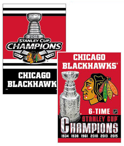 "Chicago Blackhawks Wincraft 2015 Stanley Cup Champions 2-Sided Vertical Flag - 27"" x 37"" - Dino's Sports Fan Shop"