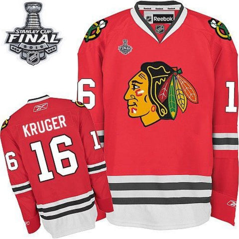 Marcus Kruger #16 Chicago Blackhawks Reebok Home Red Premier Jersey w/ 2015 Stanley Cup Patch - Dino's Sports Fan Shop