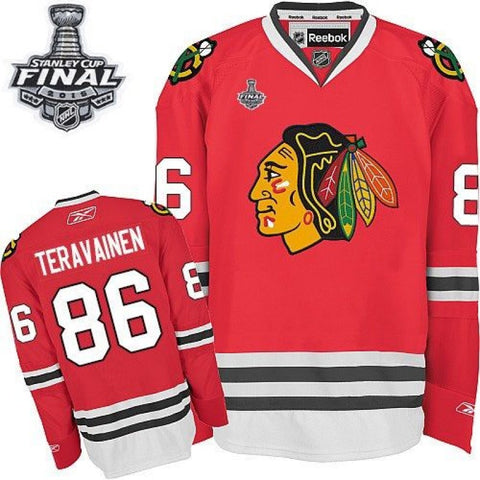 Teuvo Teravainen #86 Chicago Blackhawks Reebok Home Red Premier Jersey w/ 2015 Stanley Cup Patch - Dino's Sports Fan Shop