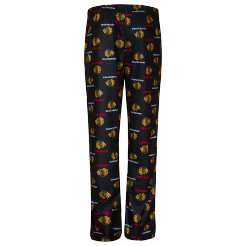 Chicago Blachawks NHL Youth Black Pajama Pants - Dino's Sports Fan Shop
