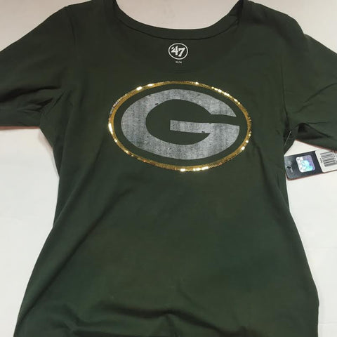 Green Bay Packers '47 Brand Gold Sparkle Women's Shirt - Dino's Sports Fan Shop