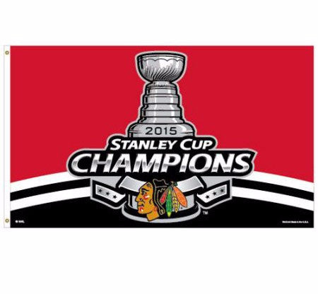 Chicago Blackhawks Wincraft 2015 Stanley Cup Champions Flag - 3' x 5' - Dino's Sports Fan Shop