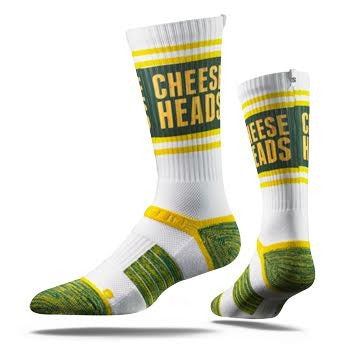 Green Bay Packers Strideline Cheese Heads Strapped Fit Adult 2.0 City Socks - Dino's Sports Fan Shop