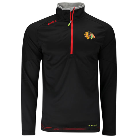 Chicago Blackhawks Reebok 2015 Center Ice Baselayer 1/4 Zip Playdry Pullover - Dino's Sports Fan Shop
