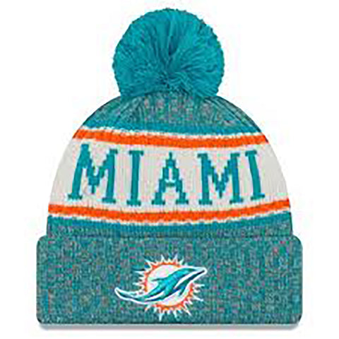 Miami Dolphins New Era NFL Turquoise Sideline Winter Hat