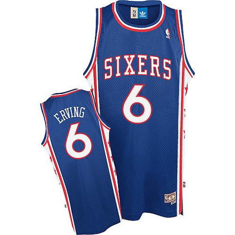 Julius Erving #6 Philadelphia 76ers Adidas NBA Throwback Swingman Jersey - Blue - Dino's Sports Fan Shop